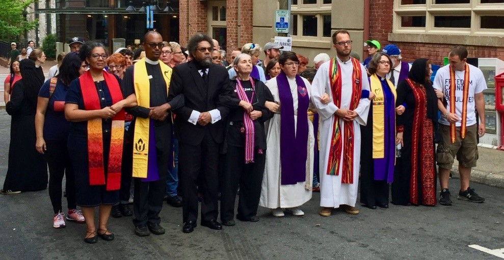 Interfaith leaders counter-protesting at the Untied the Right rally in Charlottesville VG – Photo:  Facebook