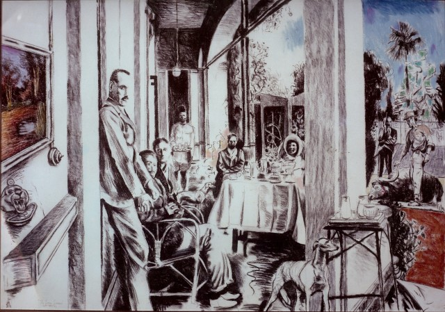 """""""VERANDAH"""" charcoal and pastel on paper (48"""" X 60"""") Published 1990 in 'Resistance Art, South Africa' 1983 – Andre Van Zijl"""