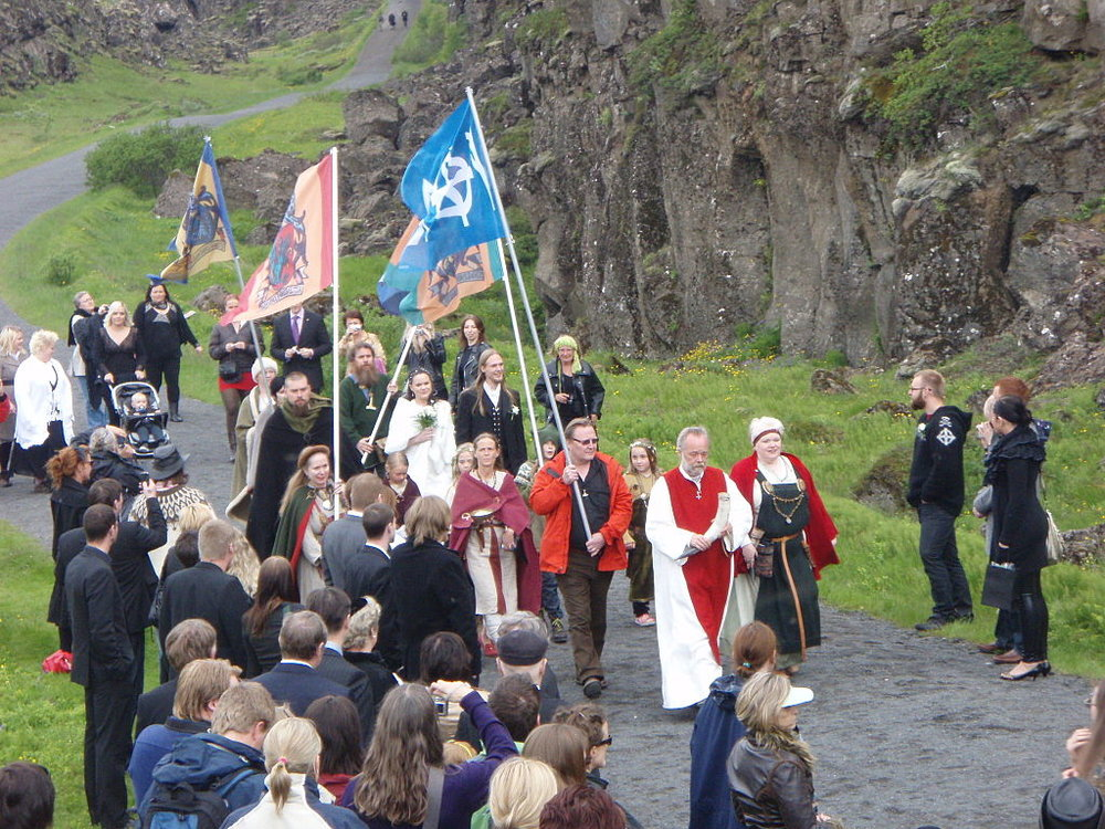 Members of Ásatrúarfélagið walk to a   blót   at  Þingvellir  in the summer of 2009– Photo:    Wikipedia