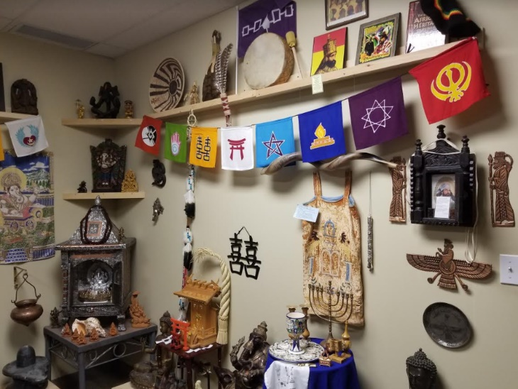 Artifacts in Brian's office to be used in  Religion in a Minute  – Photo: BC