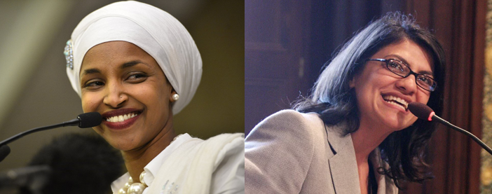 Ihan Omar and Rashida Tlaib – Photos:    Wikimedia    and    Rashida: Democracy for Congress
