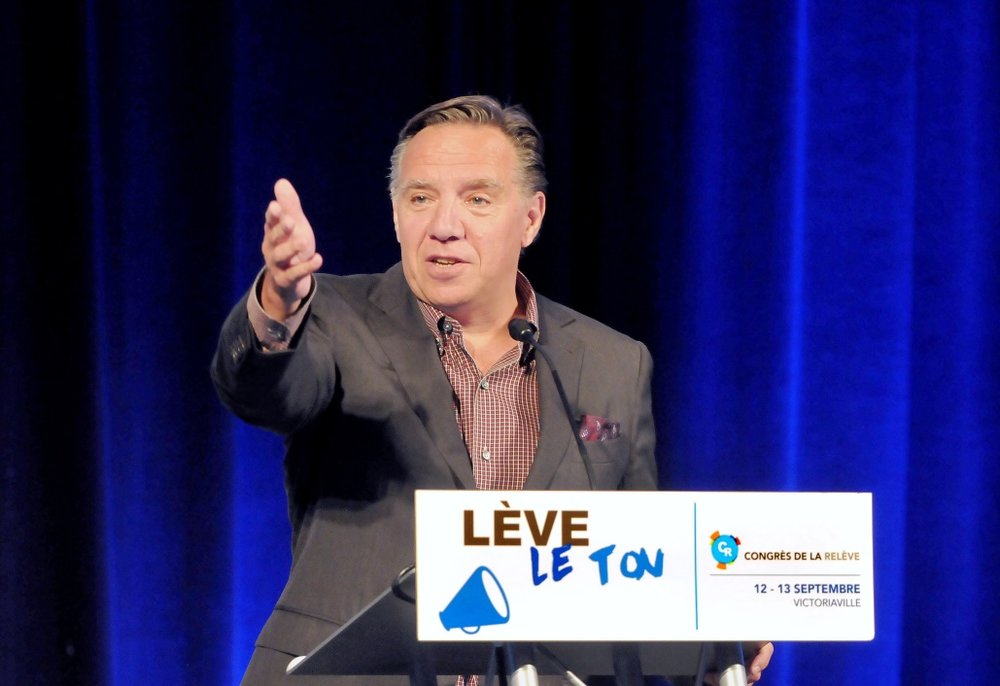 Premier François Legault , one of the proponents of the legislation to ban religious articles and attire  –  Photo:    Wikimedia