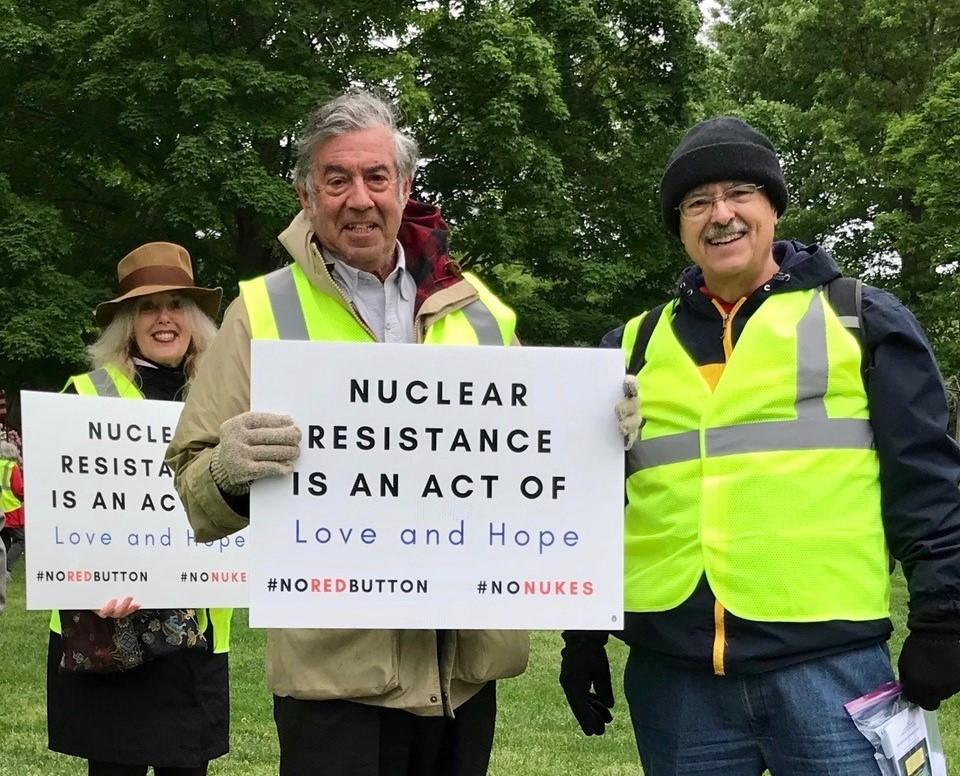 Blog post author Jerry Ross (right) with Chair of Nuclear Weapons Working Group Jonathan King (middle) at recent protest – Photo: JR