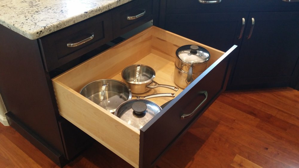 "Solid wood drawer boxes are a nice addition to any kitchen that doesn't already have them. Constructed from solid 5/8"" thick birch with dovetailed corners on heavy duty full extension under mounted soft close slides."