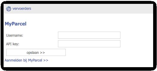 De MyParcel plug-in in staat klaar in de GratisWebshopBeginnen beheeromgeving