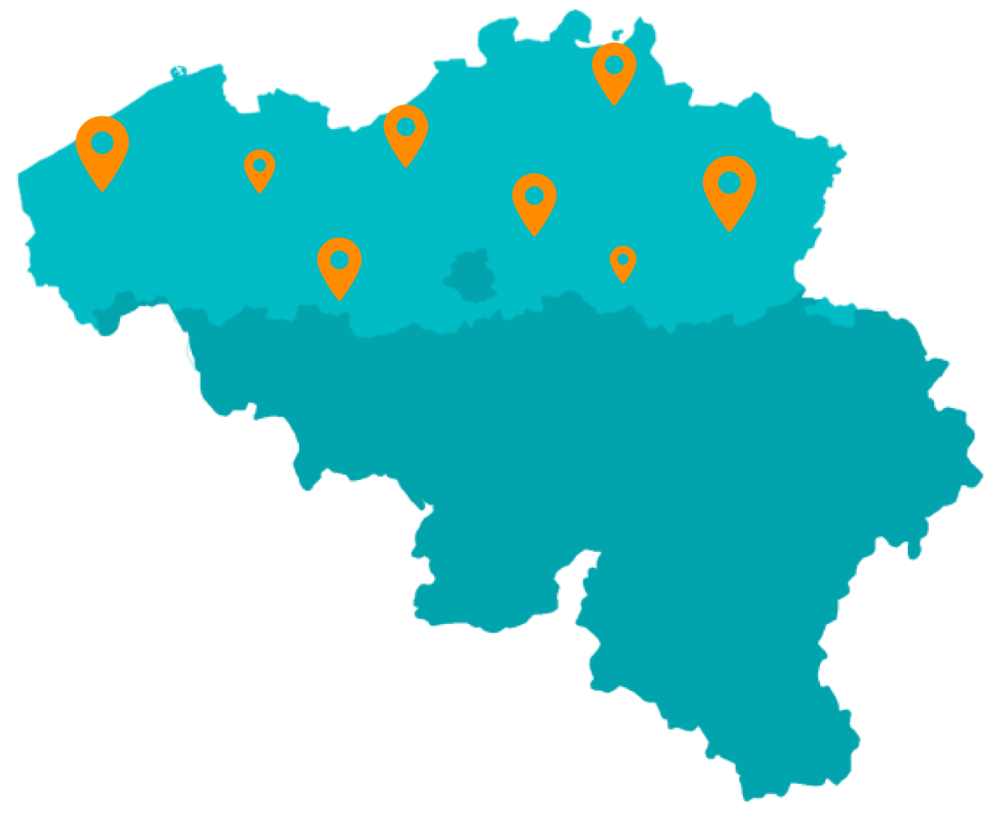 Landkaart België: Pakketten versturen naar afhaallocaties in Vlaanderen, België