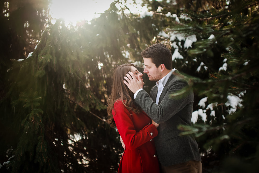 Outdoor Winter Engagement Portraits Buffalo NY