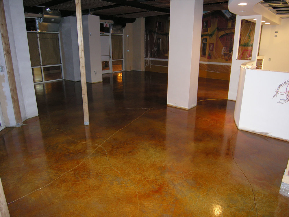 Acid-Stained Restaurant Concrete Floor with Saw-Cutting.  Brickform E-Stain and Decopoxy