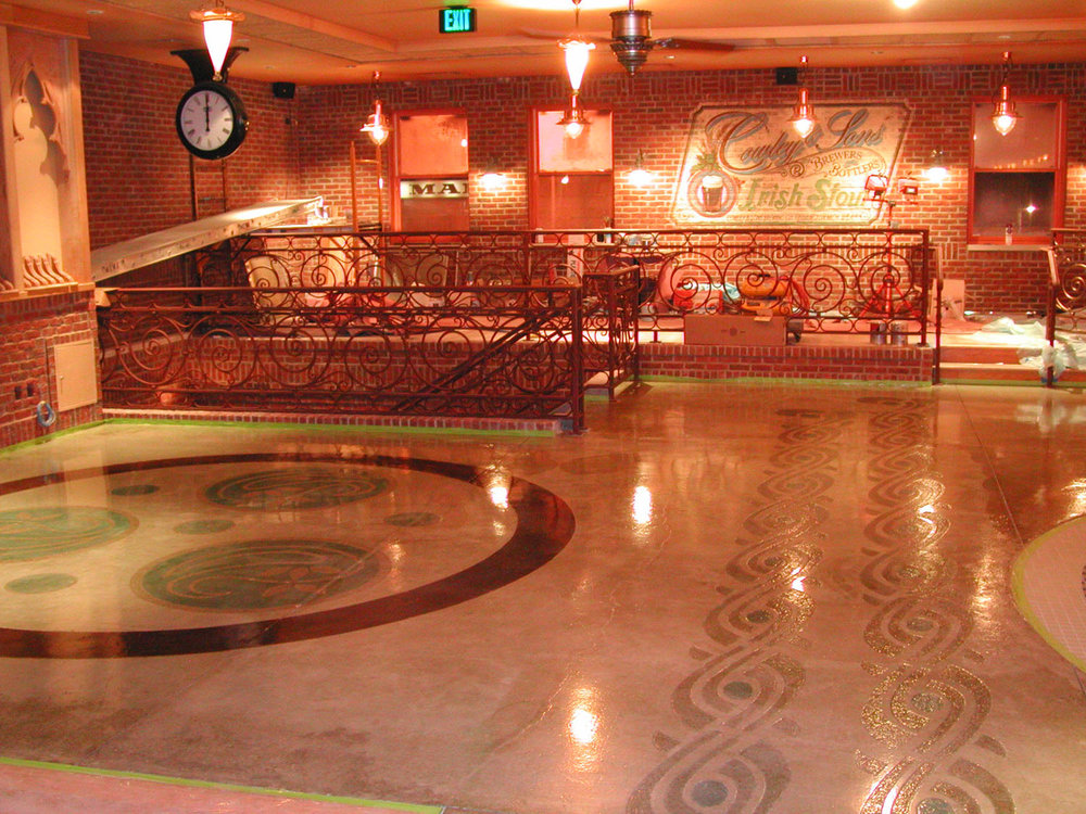 Acid-Stained; Engraved Restaurant Concrete Floor.  Brickform Decopoxy