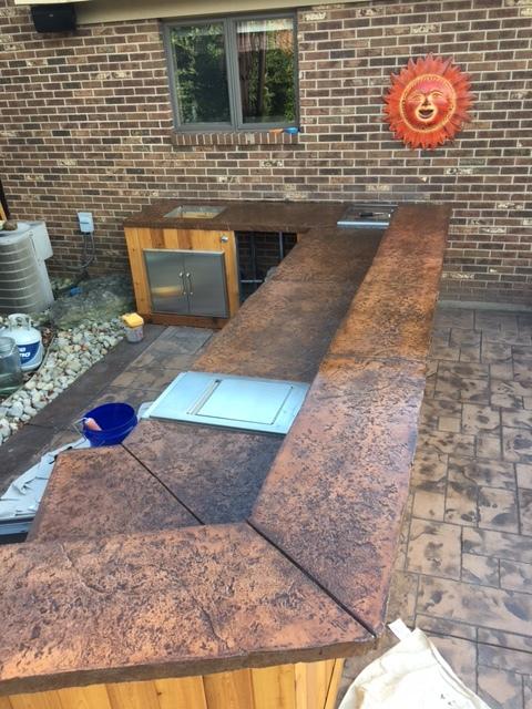 Rough Stone Texture, Chiseled Edging, Sun Buff Hardener, Walnut Artesian Stain, Poly-Seal