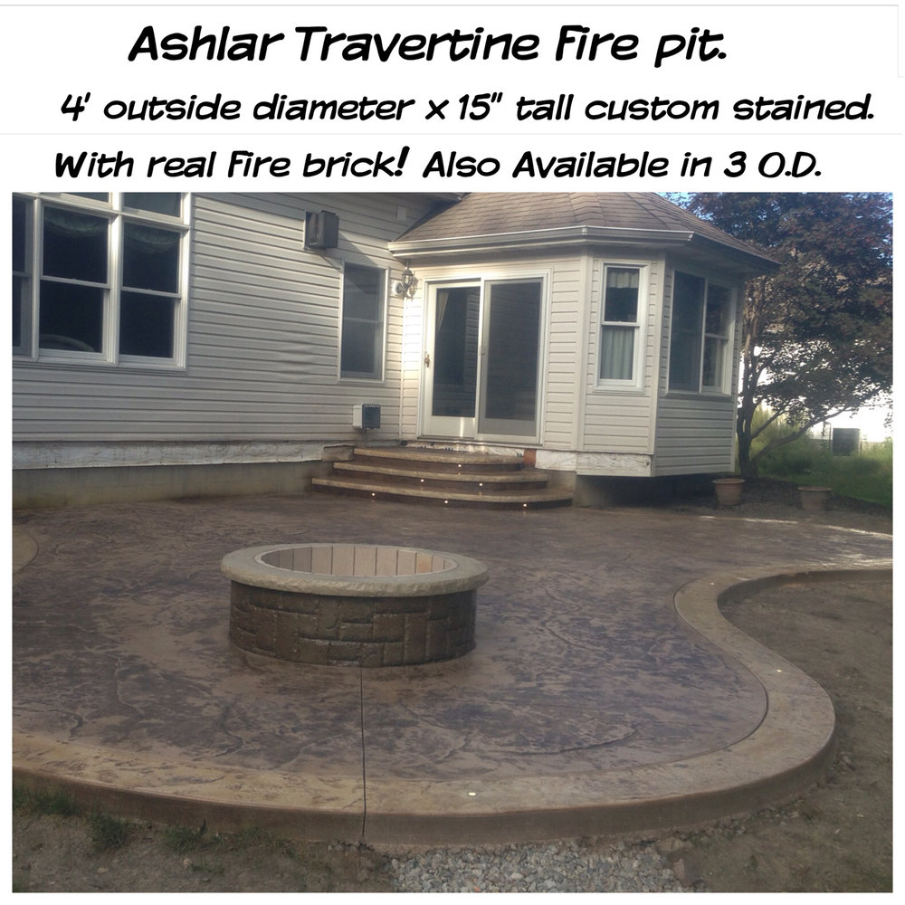 Custom-made 4' diameter fire pit w/LED lights in border & steps. Desert Tan integral color, Golden Sandstone & Nutmeg releases & Coconut colored borders.