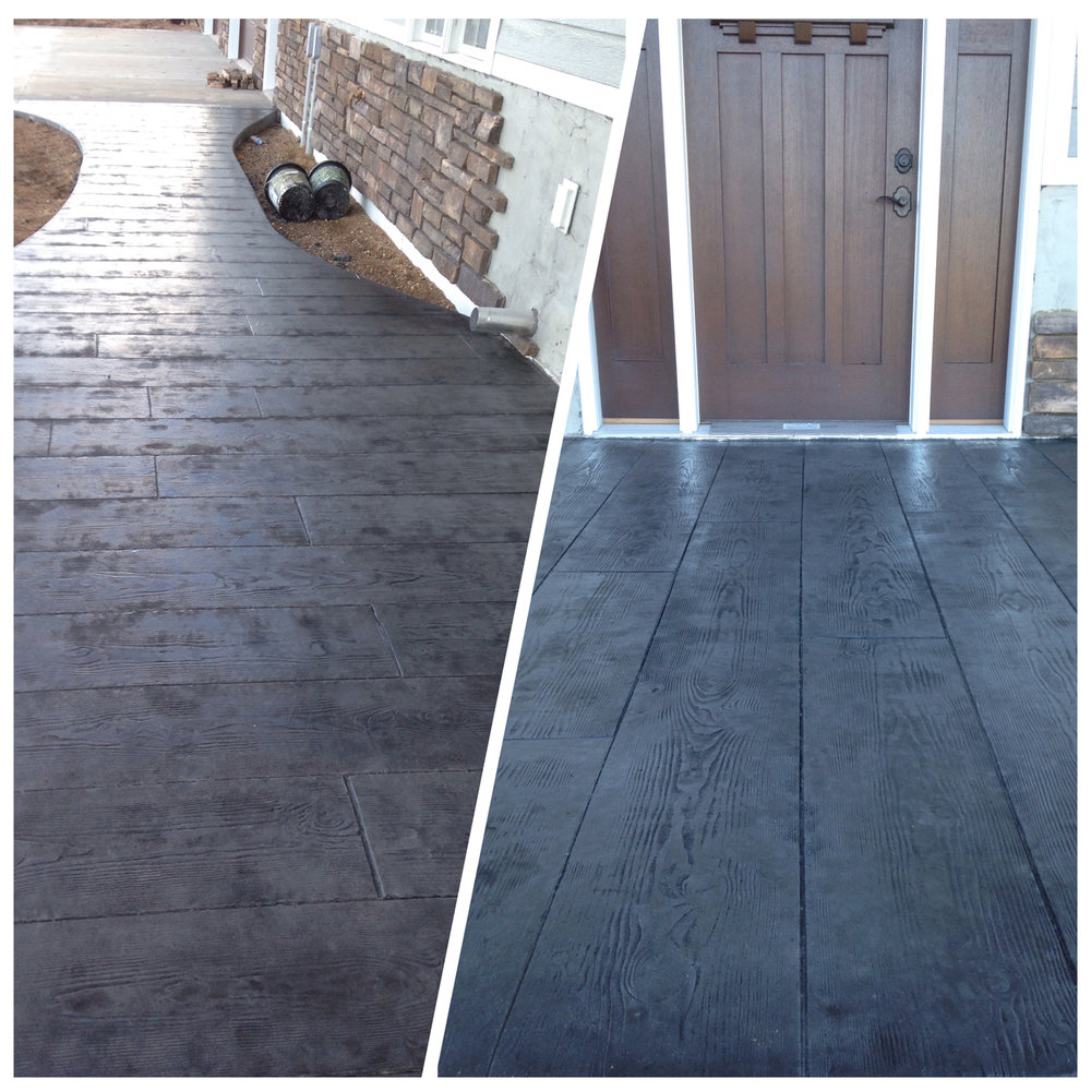"French gray integral color. Dark gray release. 12"" cedar plank stamp. Two coats of sealer."