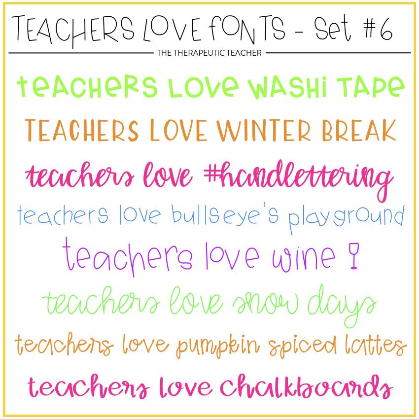 Teacher Fonts - www.thetherapeuticteacher.com