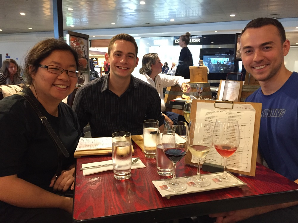 Jennifer, David, and Kade enjoying their last meal before flying from Boston en route to Copenhagen.