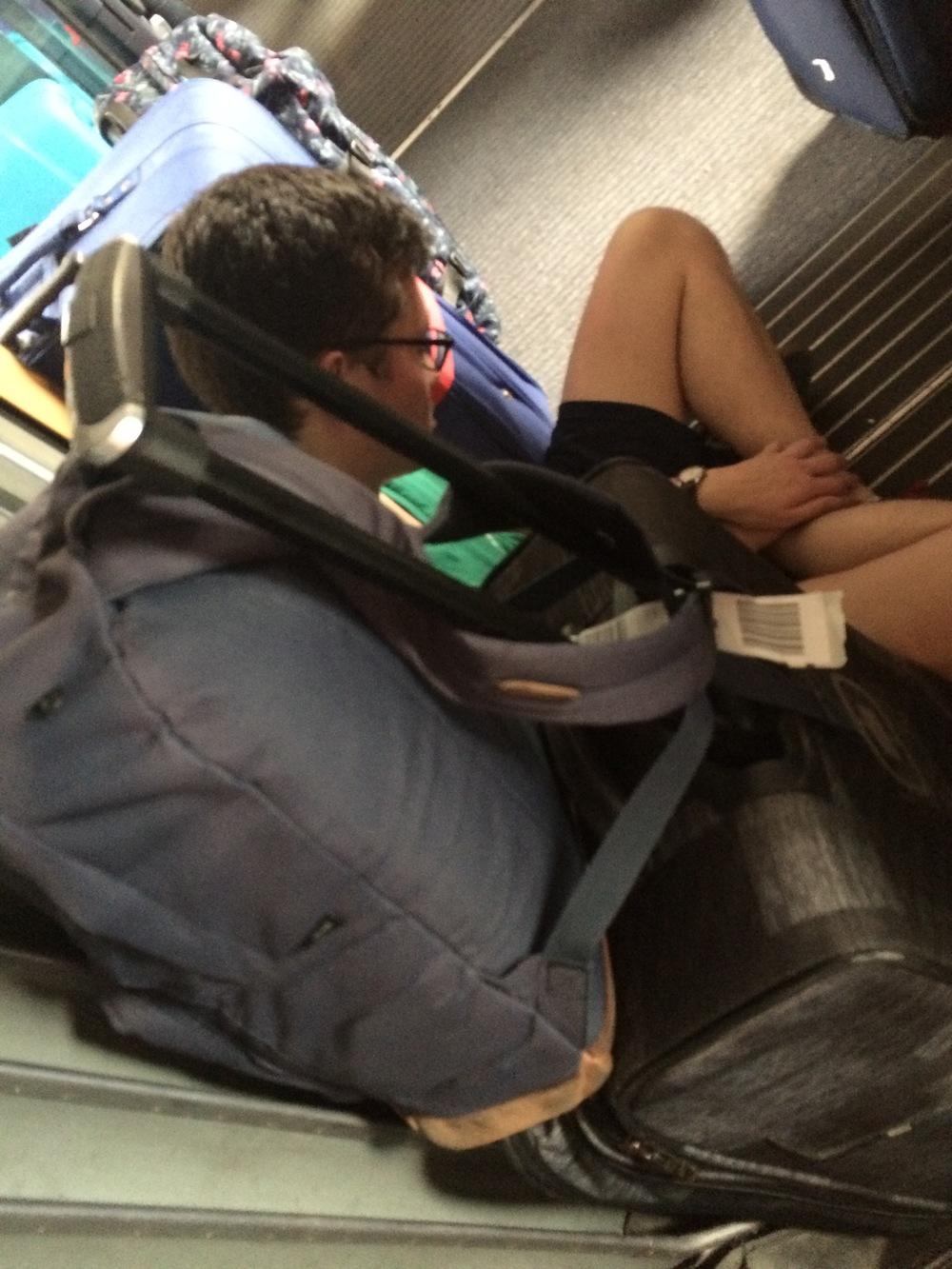 Noel prepares for his slumber on the train from Stuttgart to Tübingen — only to be woken up by elderly German women!