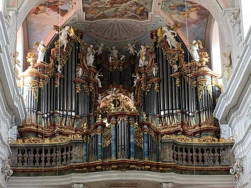 The highly ornate organ in Ochsenhausen