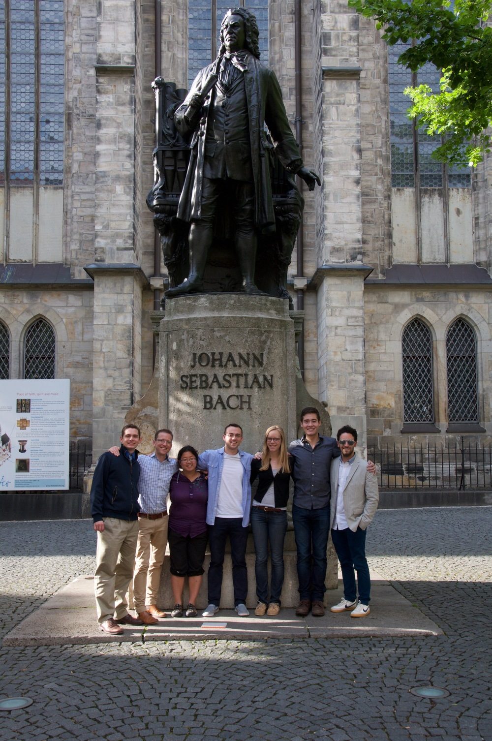 We stand with the Bach memorial outside of St Thomas Church