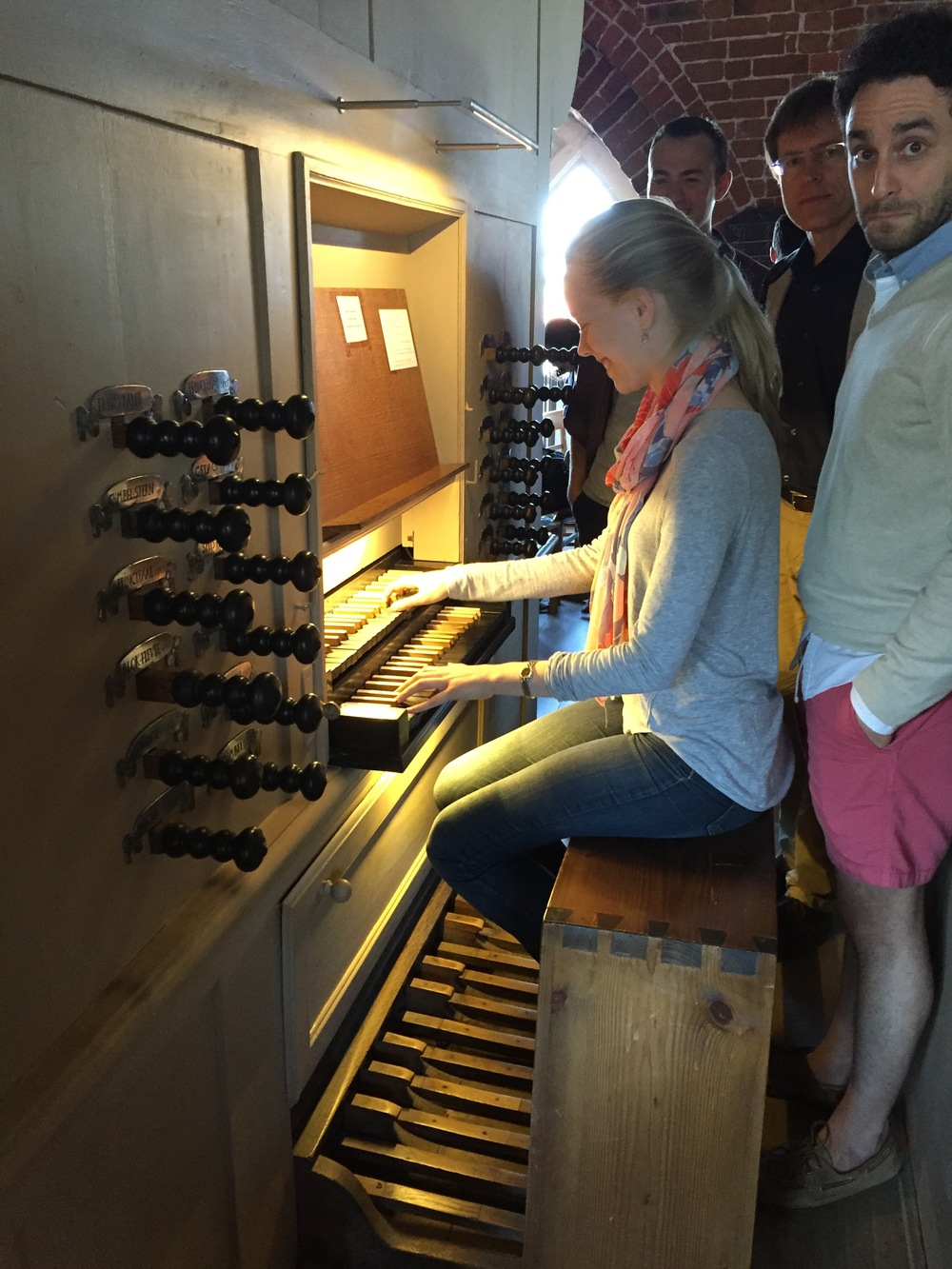 Laura enjoys her time improvising on the Evers organ.