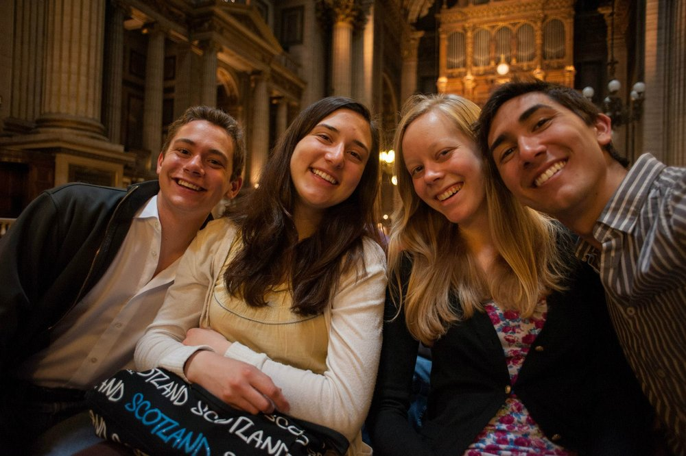 David von Behren, Karen Christianson, Laura Gullett, and Joey Fala at the Church of the Madeleine, in Paris, in 2014.