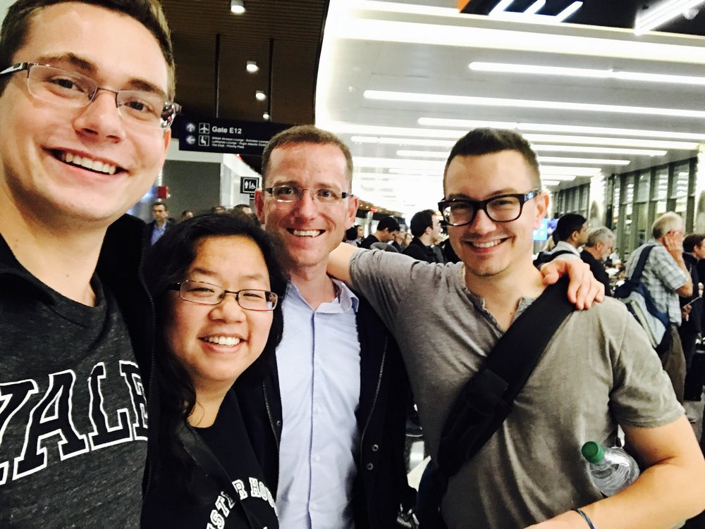 David, Jennifer, Chris, and Corey ready to board their first flight en route to Paris!