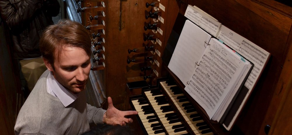 Oliver Houette advising the Boston Organ Studio at the Cliquot organ. -Boston Organ Studio