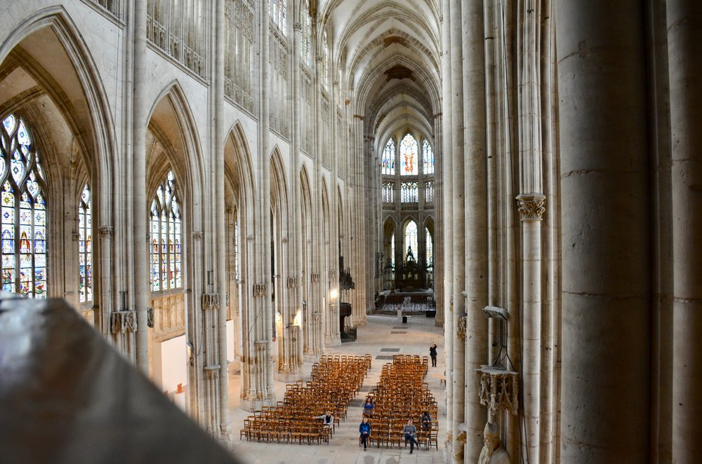 The abbey church of St. Ouen, Rouen as seen from the organ gallery