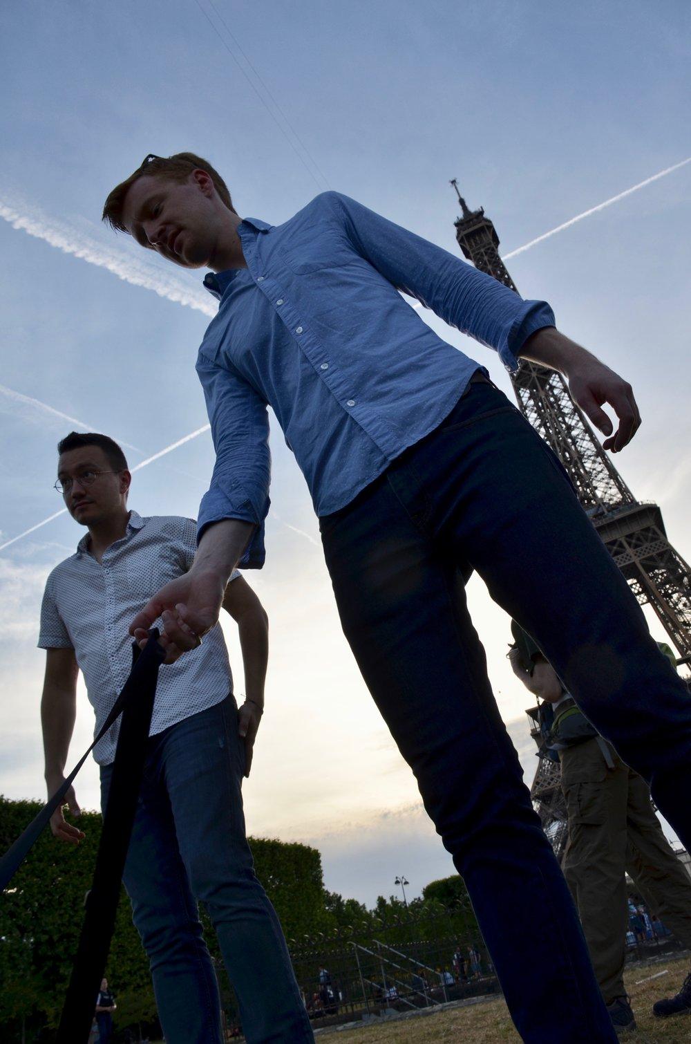 Corey de Tar and Jon Ortloff enjoying the Eiffel Tower