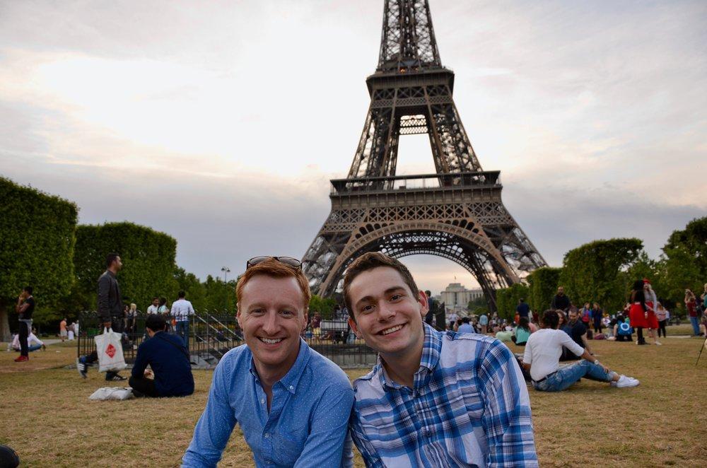 Jon Ortloff and David von Behren enjoying the Eiffel Tower before the Boston Organ Studio picnic