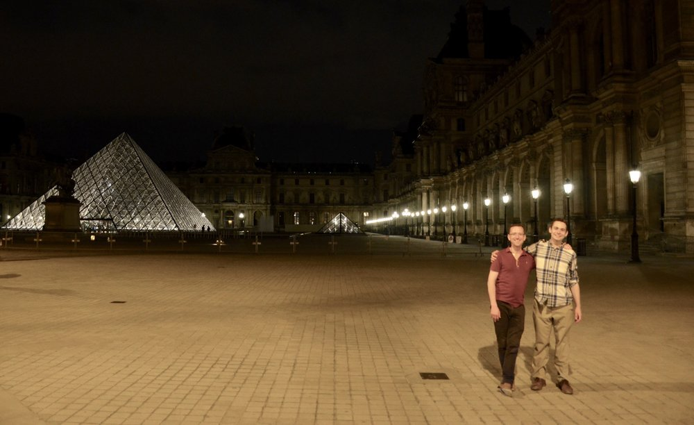 Christian Lane and David von Behren in front of the Louvre