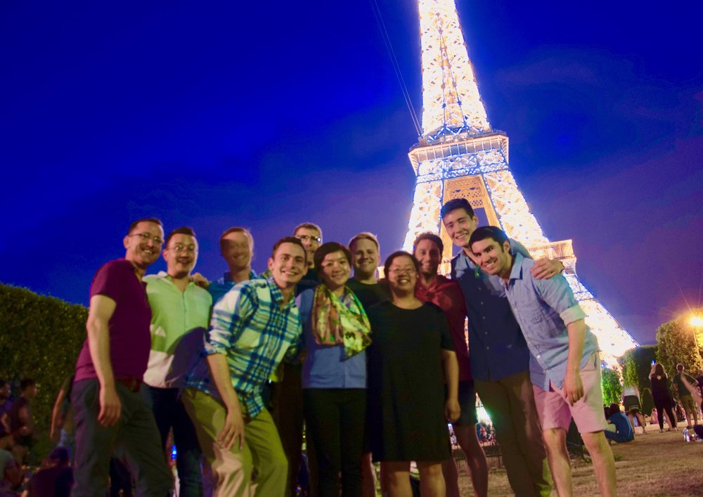 The Boston Organ Studio enjoying a night at the Eiffel Tower!