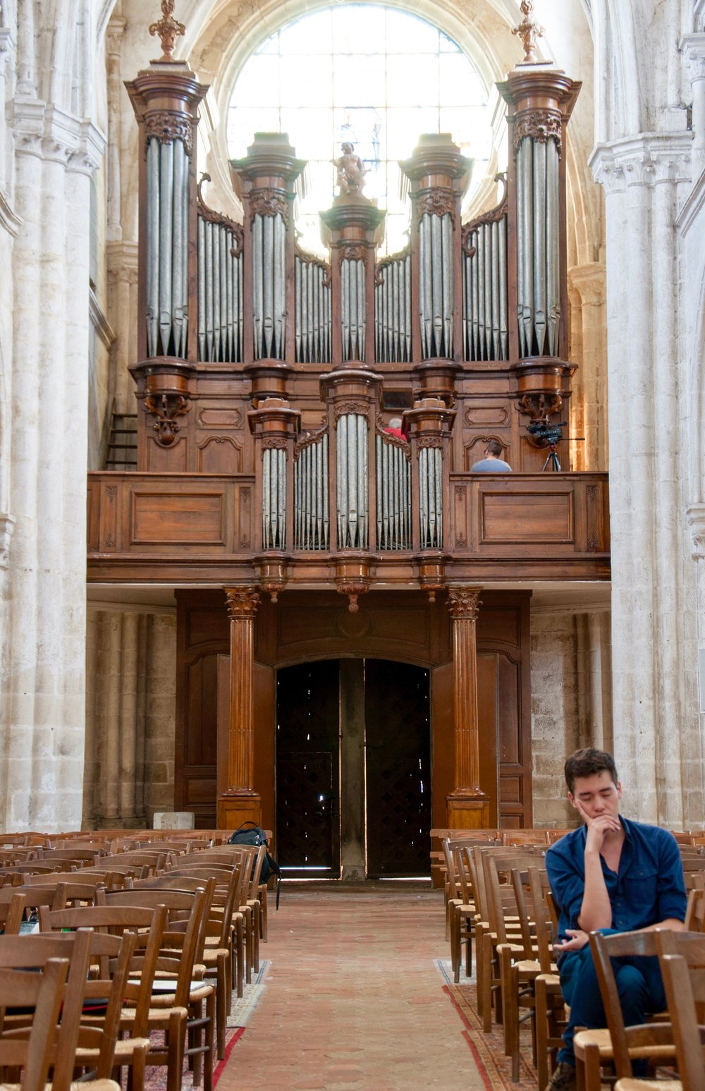 Noel listening to the rich 8' foundations of the organ at Rozay-en-Brie!