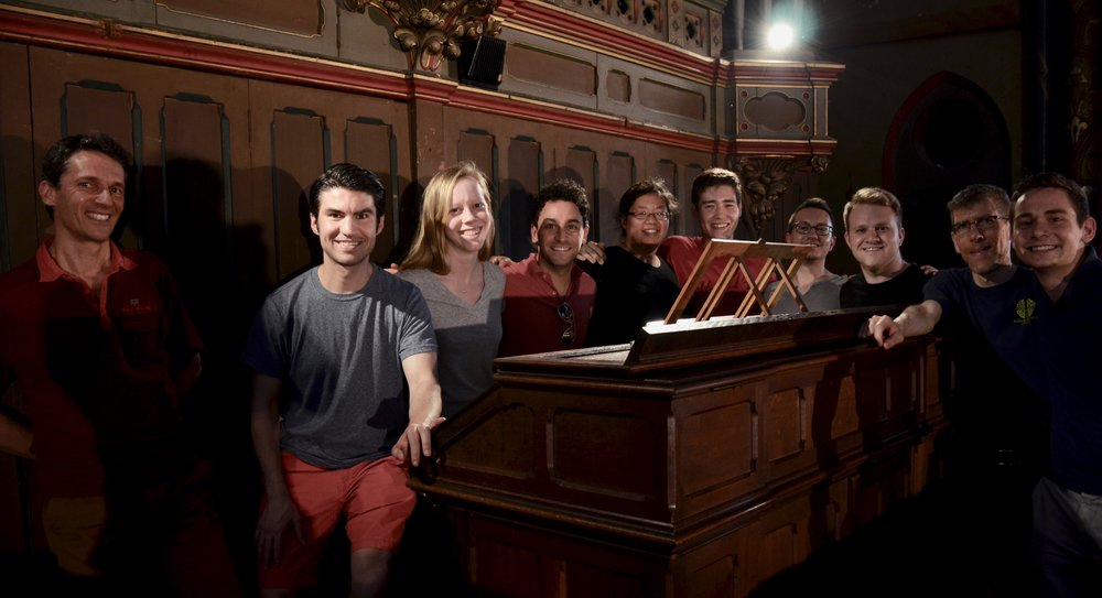 Members of Boston Organ Studio with Yves Rechsteiner, Exec. Dir of Toulouse les Orgues