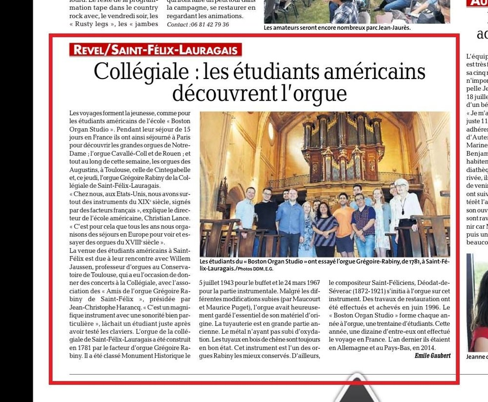 Boston Organ Studio in the Toulouse Press!