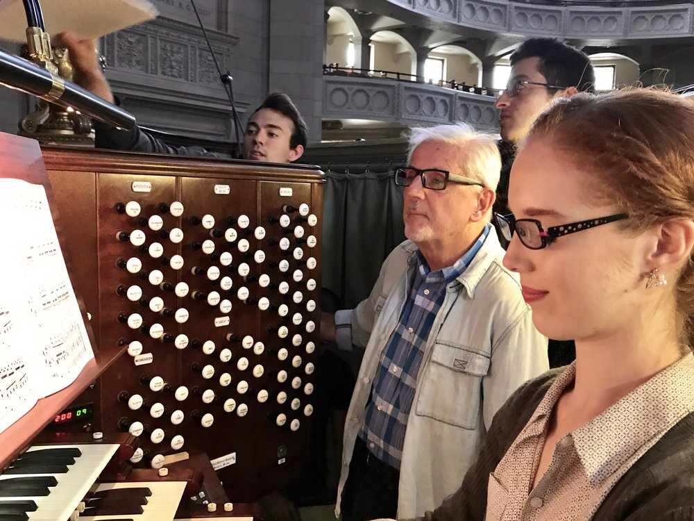 Stephen Loher assists Julia Kornick at the console of The Mother Church organ.