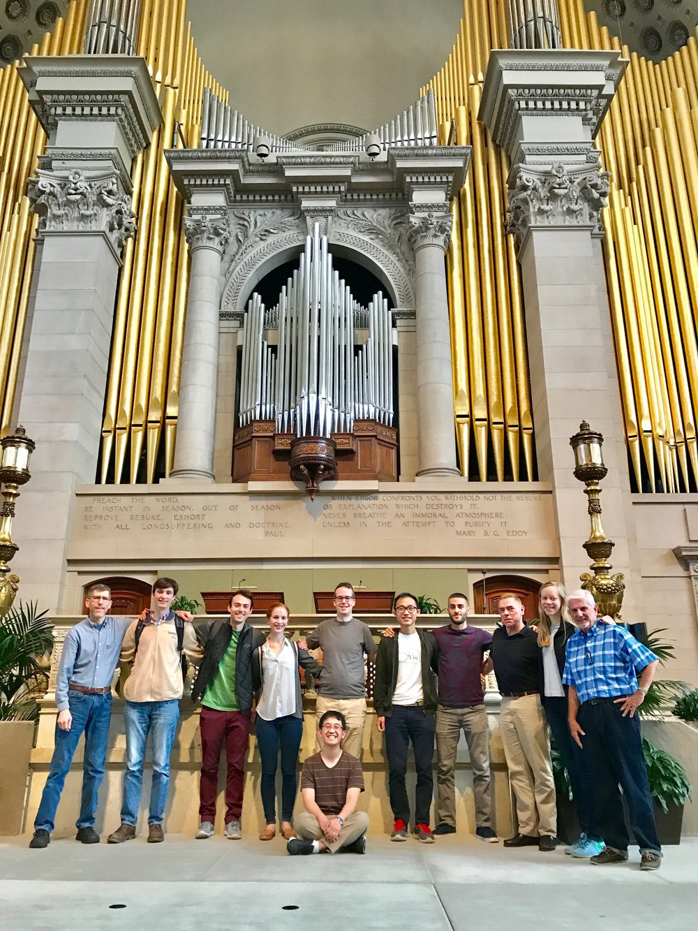 Members of Boston Organ Studio with host Stephen Loher at the First Church of Christ, Scientist, in Boston (The Mother Church)