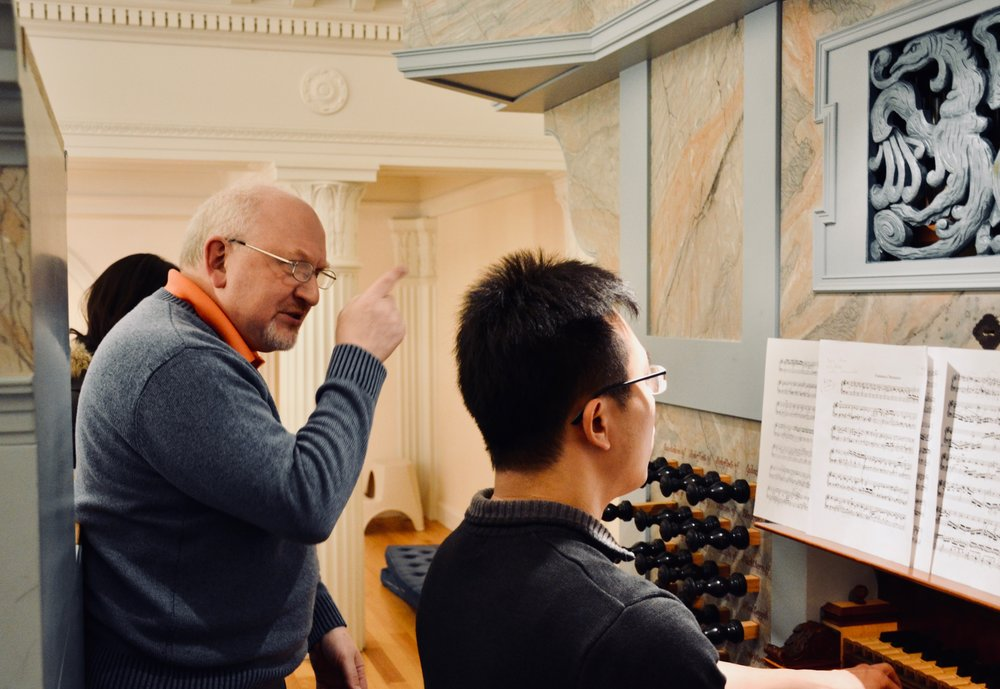 Professor Martin Jean coaches Sweelinck's Chromatic Fantasia for student Adrian Cho