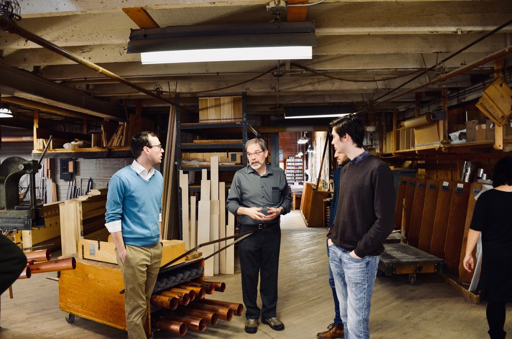Denis Blain, Kade Phillips, Elliot Parlin. Boston Organ Studio tour of the Casavant Pipe Organ Shop, St-Hyacinthe, Quebec