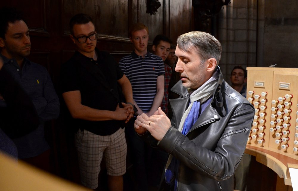 With titular organist Olivier Latry in the gallery of Notre-Dame de Paris, 2017.