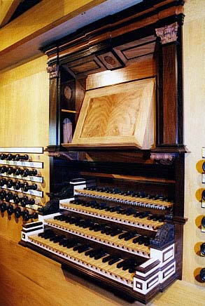 KEYDESK, NORTH GERMAN BAROQUE ORGAN, GOTEBORG, SWEDEN