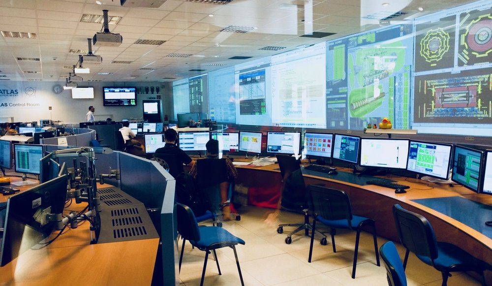 A view of a control room at CERN.