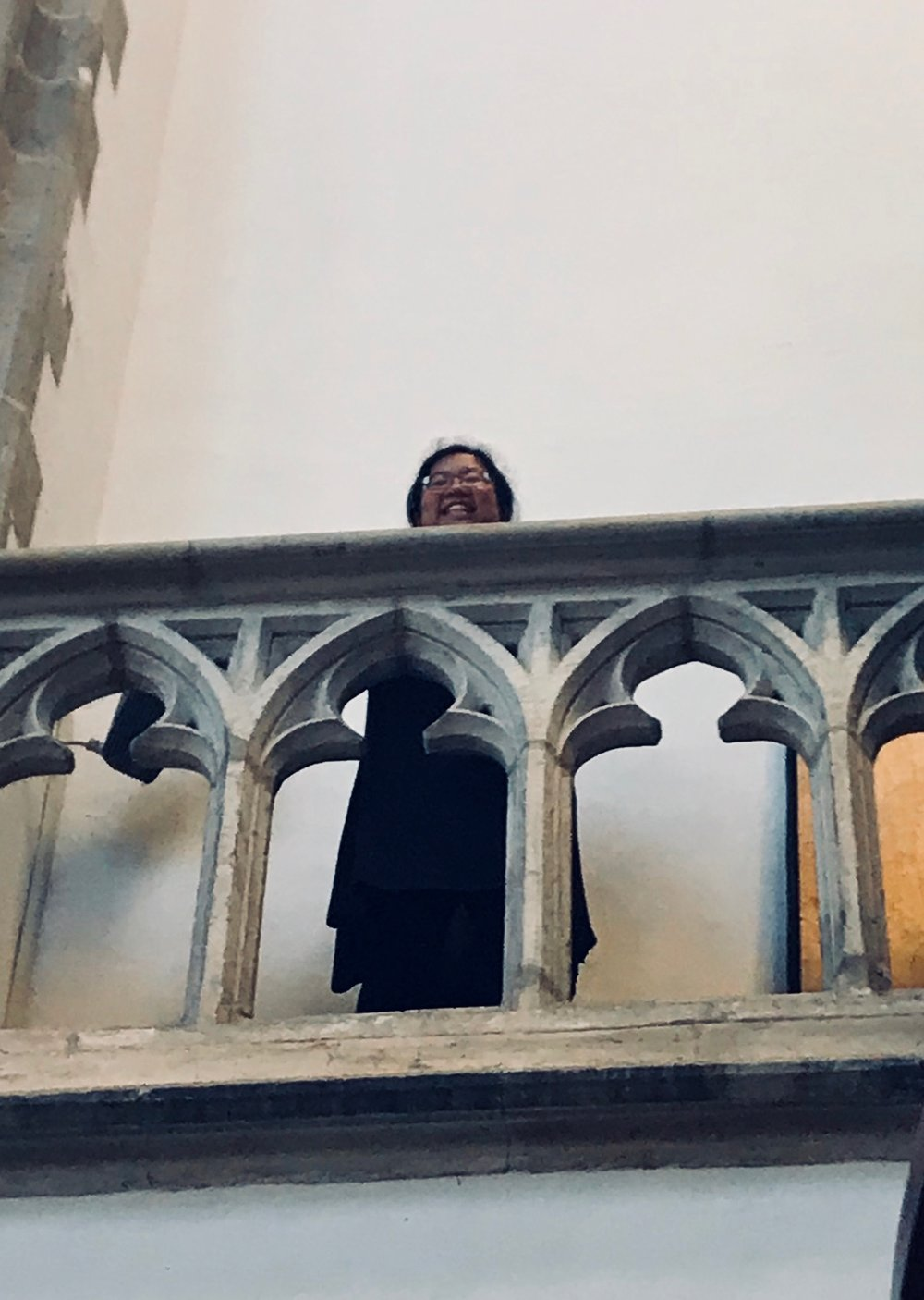 Jennifer Hsiao peers down from the triforium in St-Bavo, Haarlem.