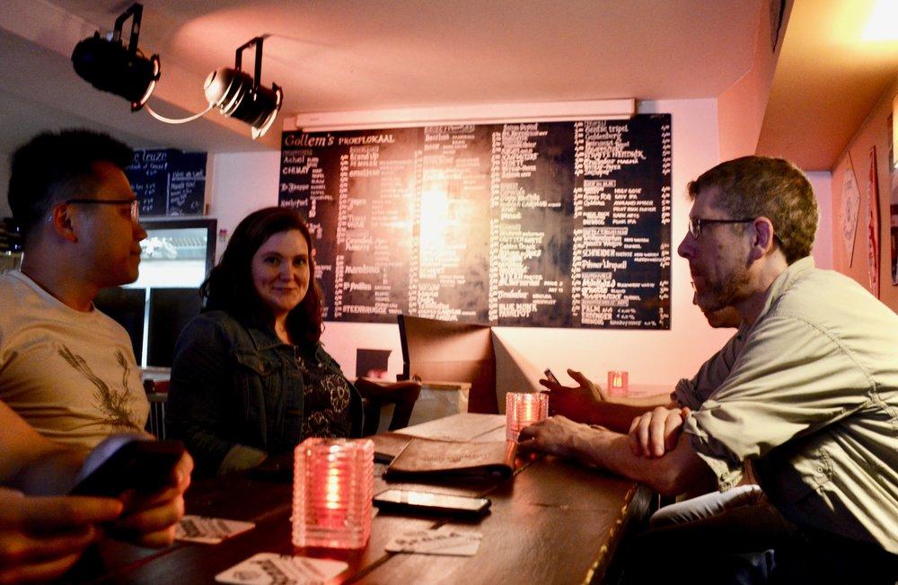 Chelsea Keating and Chris Porter at dinner.