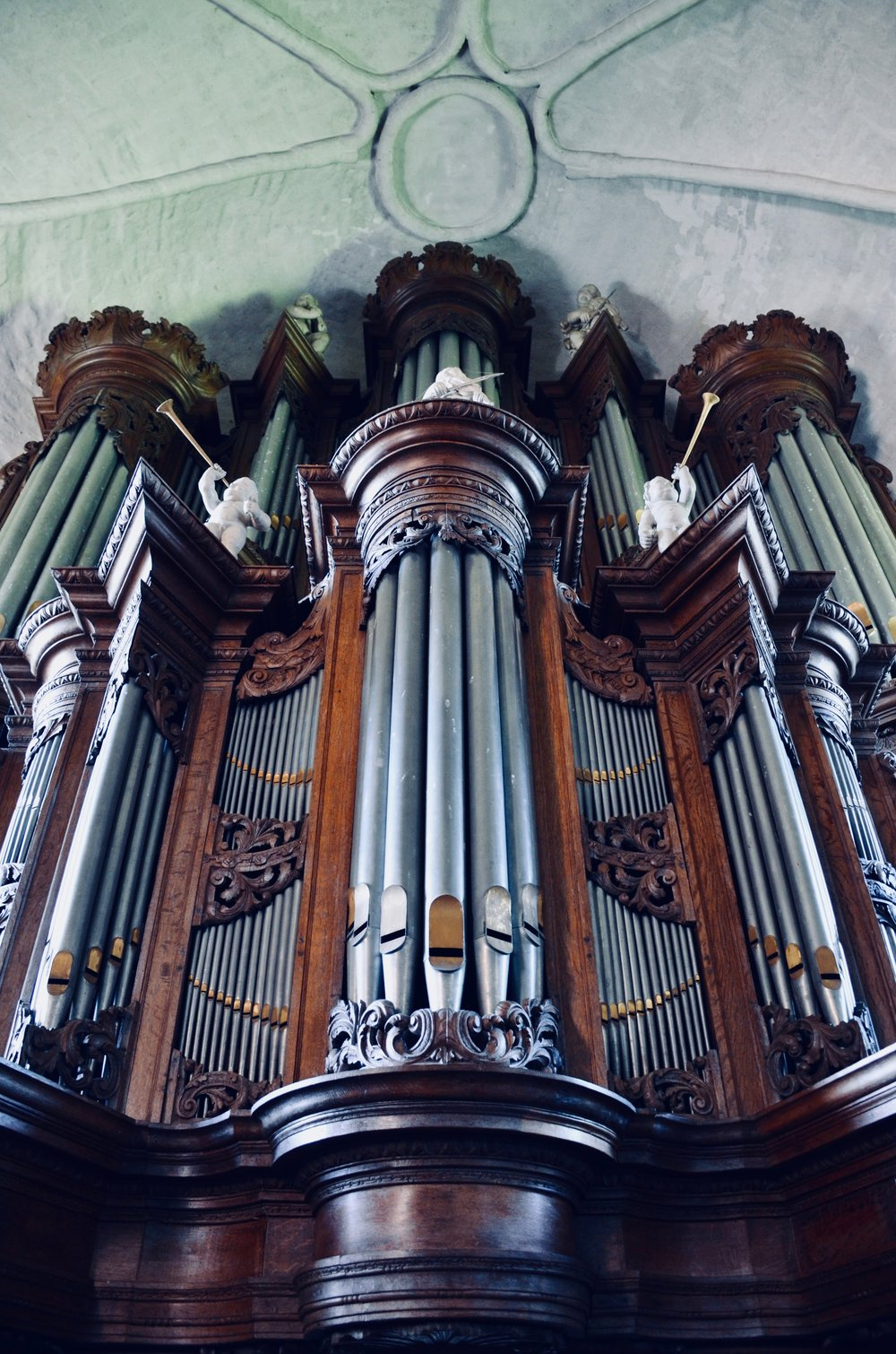 Façade detail, 1733 Hinsz Organ, Leens, Holland.