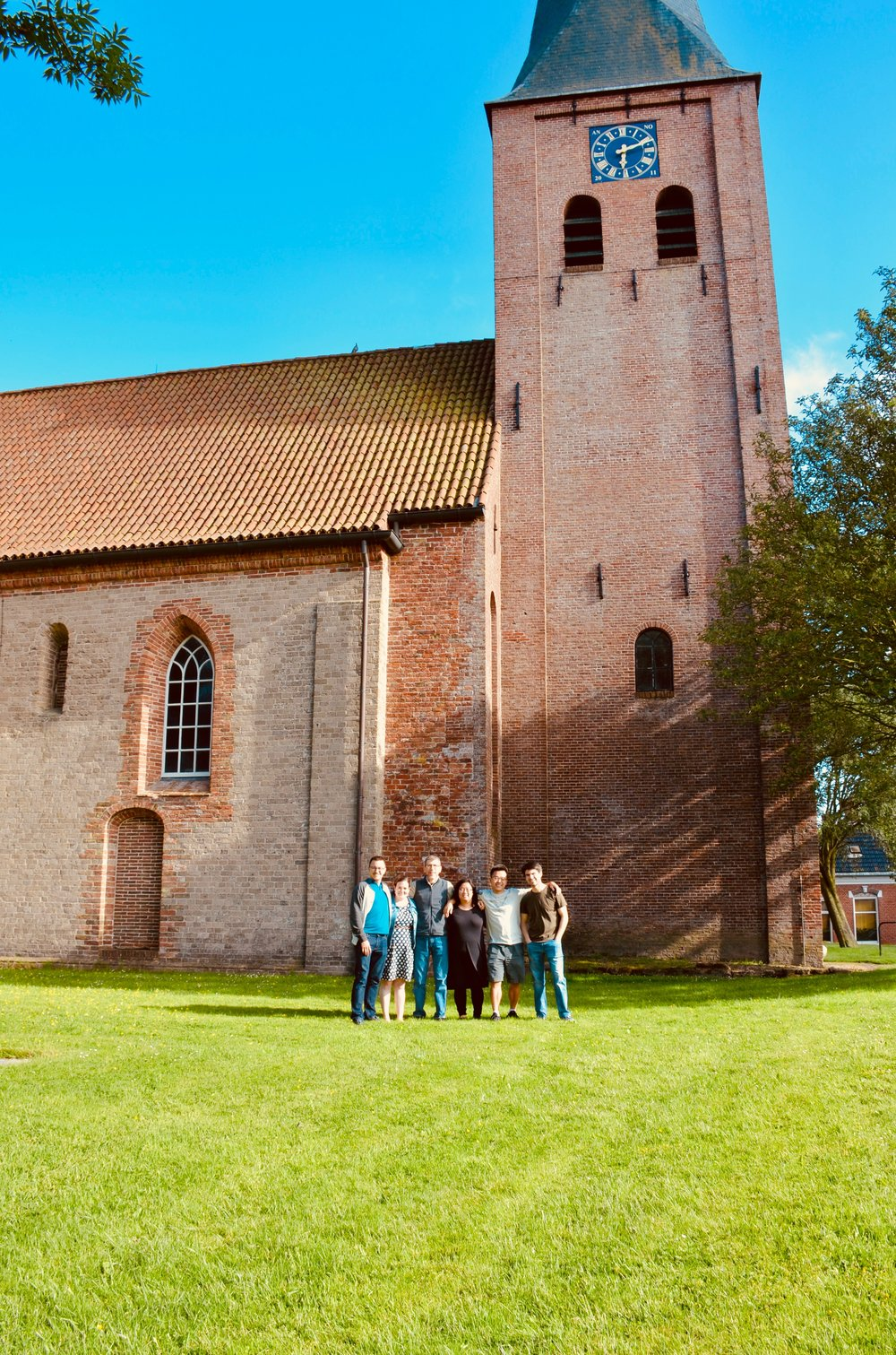 Members of Boston Organ Studio outside Petruskerk, Leens, Holland.