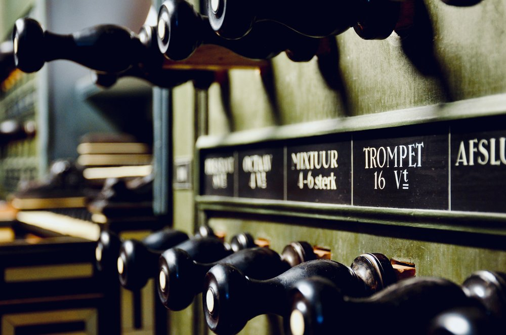 Console detail, 1692 Arp Schnitger pipe organ, Martinikerk, Groningen.