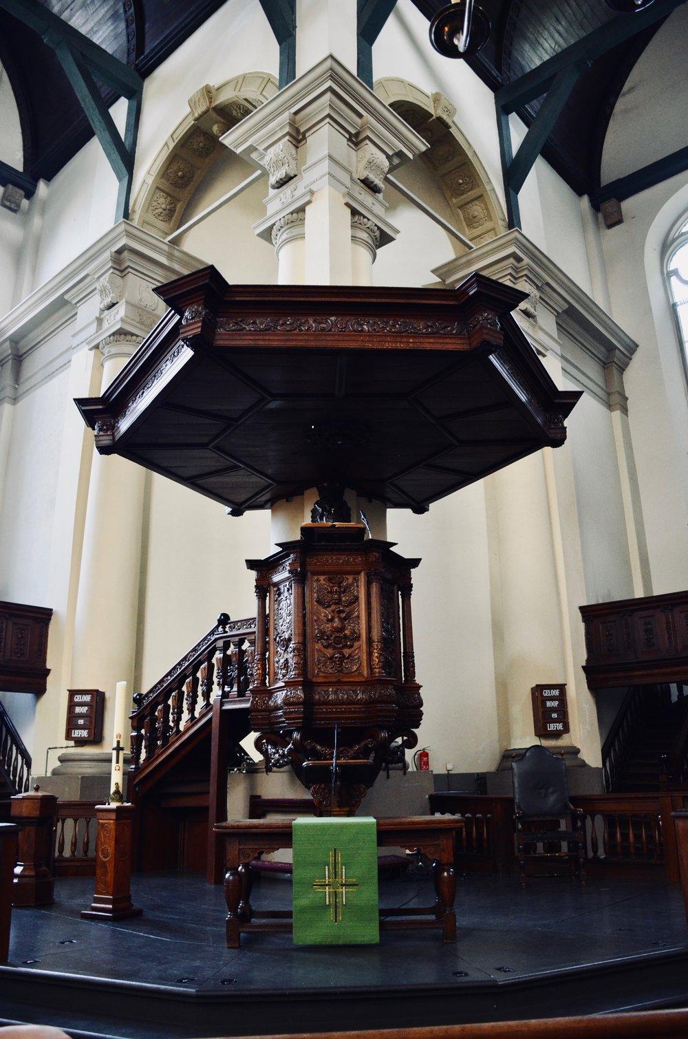 Pulpit in Nieuwe Kerk, Groningen.
