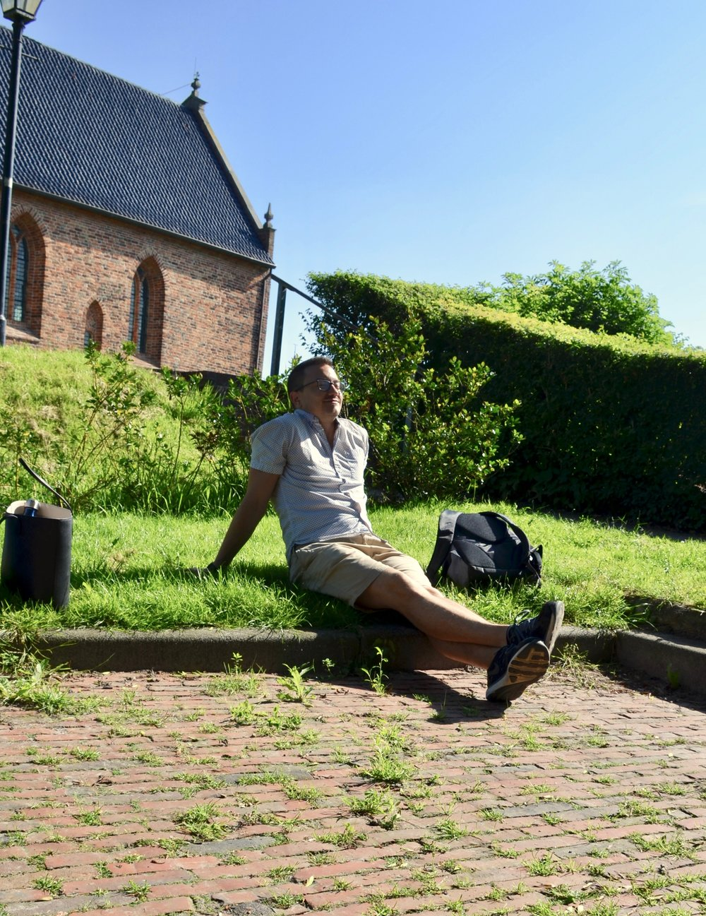 Corey De Tar outside the church in Kantens, Holland.