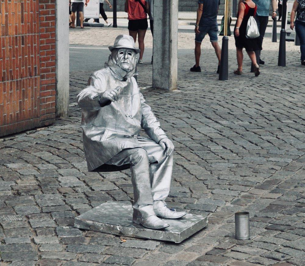 A mime in Hamburg, Germany.