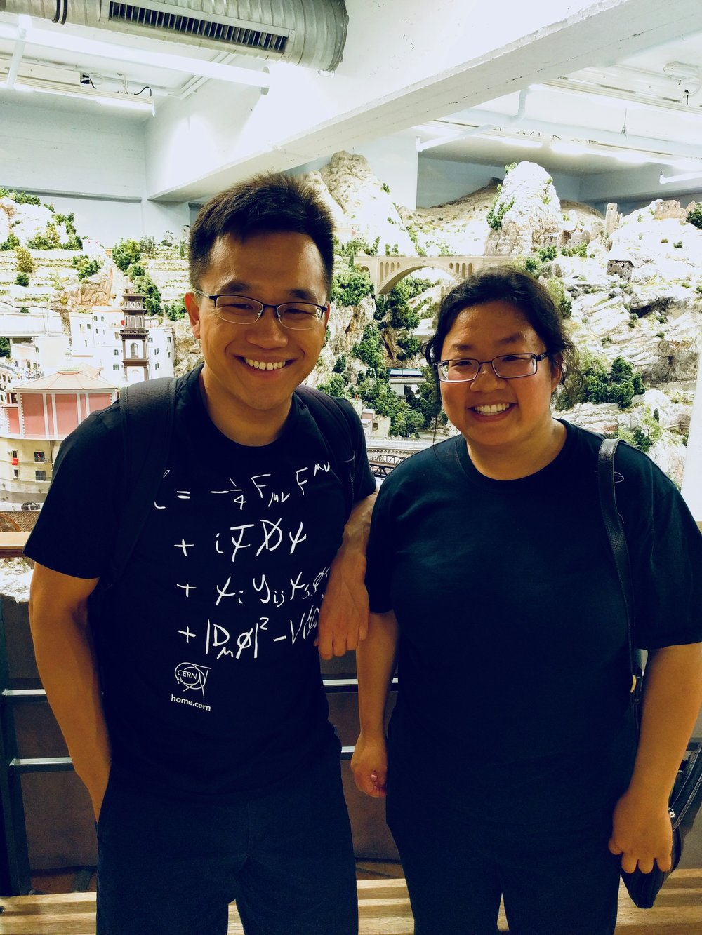 Adrian Cho and Jennifer Hsiao at the miniature museum in Hamburg, Germany.