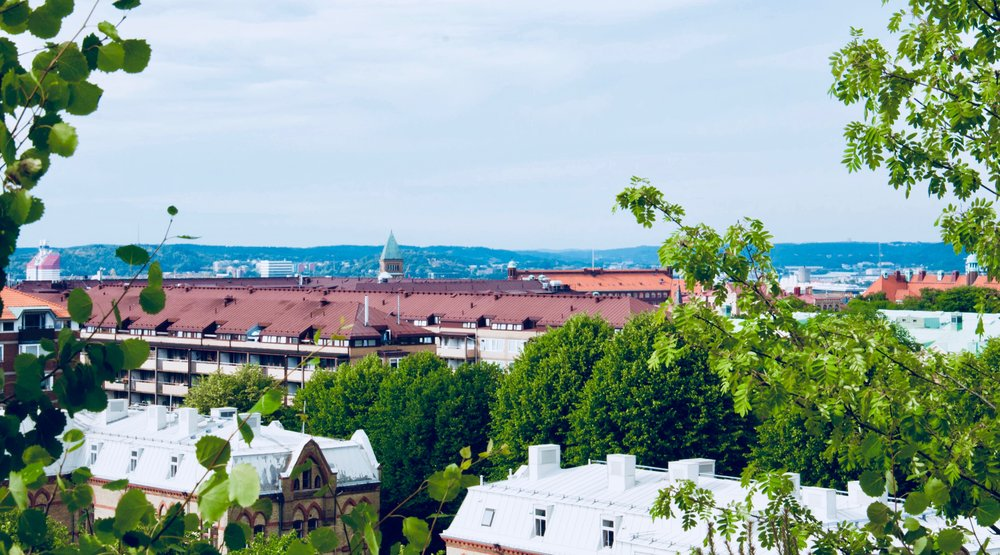Looking out over the rooftops of Gothenburg.
